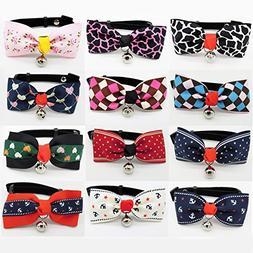 PETFAVORITES Dog Cat Bow Tie Collar - Suede Kitten Bowtie wi