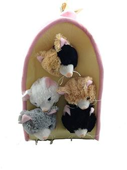 Plush Cat House with Cats - Five  Stuffed Animal Cats in Pla