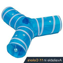 Prosper Pet Cat Tunnel - Collapsible 3 Way Play Toy - Tube F
