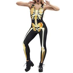 SUKEQ Sexy Women Halloween Cosplay Costumes 3D Printed Skele