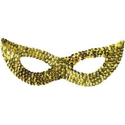 Sequin Cat Adult Halloween Mask Accessory Gold