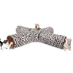 Speedy Pet Leopard Print Collapsible 4 Ways Cat Toys Tunnel