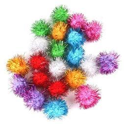 TOOGOO 21 Piece 3.5cm Glittering Tinsel Springs Pompons Ball