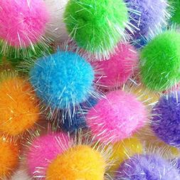 Tech-P Glitter Pom Pom Balls Sparkle Balls My Cat's All Time
