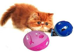 Two Large Cat Ball Toy with cutouts of fish and paws with Be