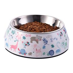 WIDEN Pet Dog Bowl with Removable Melamine Stainless Steel P