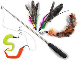 YOGADOG Cat Toys Feather Teaser Wand Retractable Interactive