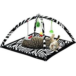Zebra Print Cat Play Tent Dangle Toys Pets Sleep Play Bed Pa