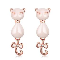 Paialco Fashion Girl's Alloy Lucky Cat Bowknot Dangle Stud E