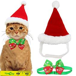 Adorable Cute Cat Dog Christmas Santa Hat and Bow Tie Collar