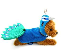 SMALLLEE_LUCKY_STORE Animal Peacock Dog Costume with Adjusta