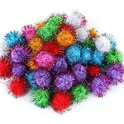 TECH-P® Arts Craft Pom Poms Glitter Poms Sparkle Balls– A