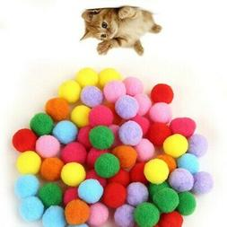 Assorted Color Soft Pompon Cat Toy Plush Balls Pet Kitten In