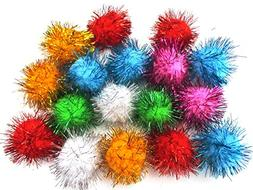New ALL in ONE Assorted Color Pom Pom Sparkle Balls Cat's