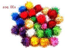 MonstGear 30 pcs Assorted Color Sparkle Balls My Cat's All T