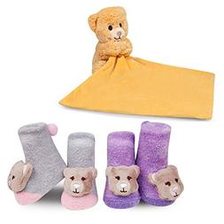 Waddle Baby Gift Set Plush Teddy Bear Security Blanket and N