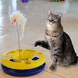 Ball Track Cat Toy with Mouse Swatter-Pack of 4