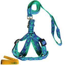 Wiz BBQT Blue and Green Adjustable Breakaway Dog Cat Pet Har