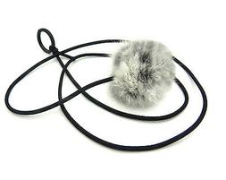 Bouncy Ball Rabbit fur String Cat Toy Gray