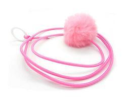 Kats'N Us Bouncy Ball Rabbit Fur String Cat Toy Pink