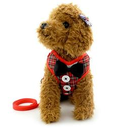 smalllee_lucky_store Bow Tie Small Dog Tuxedo Harness for Pu