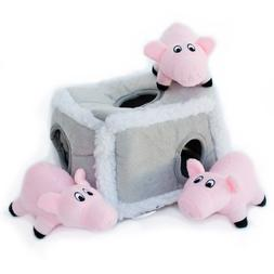 ZippyPaws Burrow Squeaky Hide and Seek Plush Dog Toy, Pig Pe
