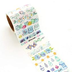 Livoty Candy Color DIY Decorative Sticker Striped Washi Tape