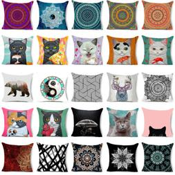 Cat & Mandala Polyester Decorative Pillow Case Sofa Cushion