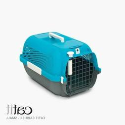 cat carrier in turquoise grey size small