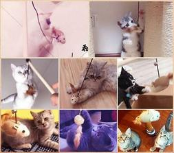 Cat Catcher Teaser Stick Toys Cat Supplies Multi Color Feath