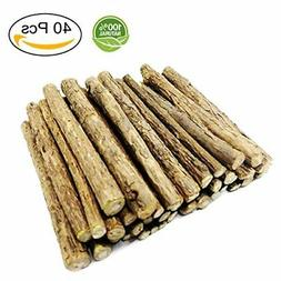 Malier 40 Pieces Cat Catnip Natural Matatabi  Chew Sticks Te