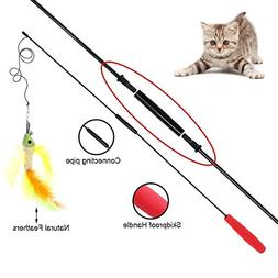 Cat Catnip Teaser Wand Toys - Pet kitten Funny Play Feather