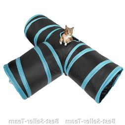 Cat Dog Toy Creaker 3 Way Collapsible Pet Tunnel with ball f