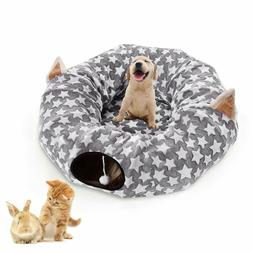 Cat Dog Tunnel Bed with Cushion Tube Toys Plush Large Diamet