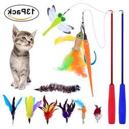 Cat Feather Teaser Toy, PetNLife 13pcs Retractable Cat Tease