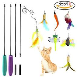 Keklle Cat Feather Toy Cat Toy Wand Interactive Teaser Catni