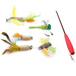 Legendog Cat Feather Toy, Feather Cat Toy Retractable Teaser