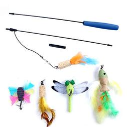 OWUDE Cat Feather Toy, Retractable Wand Toy 5 Replacement He