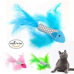 Beirui 3 PCS Cat Feather Toy Interactive Cat Kitten - Cat To