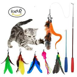 EatronChoi Cat Feather Toy, Cat Toy Wand, 9 pcs Retractable