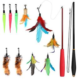 Travelnote Cat Feather Toy Set, 12 pcs Retractable Interacti
