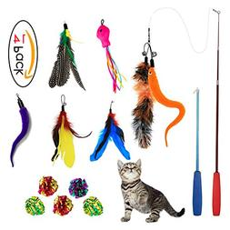 Sunnysunnie Cat Feather Toys Catnip Toy Wand Interactive Tea