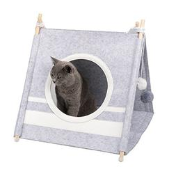 funny supply Cat Felt Tent Pet Teepee with Ball Toys and Cat