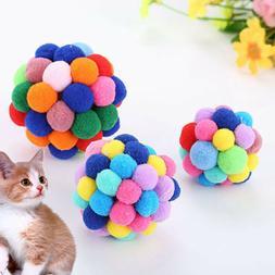 New Pet Cat Toys Colorful Handmade Bells Bouncy Ball Built-I
