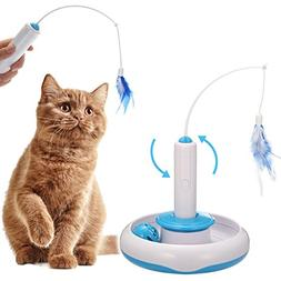 FOCUSPET Cat Interactive Toys, Electric Rotate Feather Toys