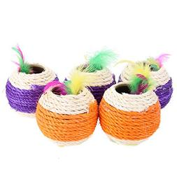 Jocestyle 5 Pieces Cat Kitten Feather Sisal Rope Scratch Rou