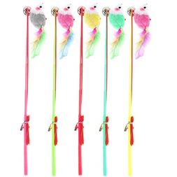 5 Pieces Kitten Cat Toy HOSPROT Colorful Feather Rod with El