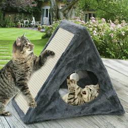 Cat Kitten Play House Pet Bed Scratcher Post Folds Condo Fur