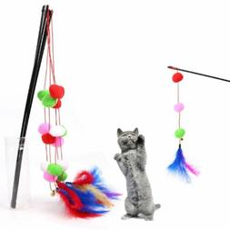 Cat Kitten Toys Colorful Ball Feather Cat Teaser Interactive