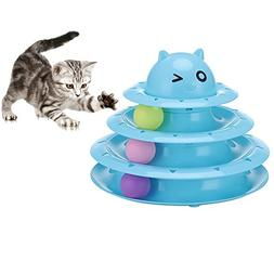 Cat & Kittens Toy Ball Tower 3-Level Tower Ball Track Indoor